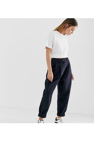 ASOS Petite ASOS DESIGN Petite ovoid pleat front peg trouser in navy