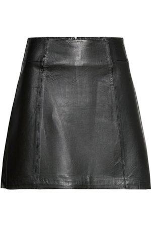 Selected Slfibi Leather Skirt B Noos Kort Skjørt