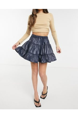 ASOS Leather look tiered mini skirt in petrol blue