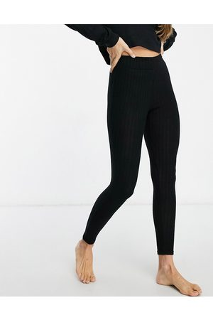Loungeable Mix & match soft knit rib legging in black
