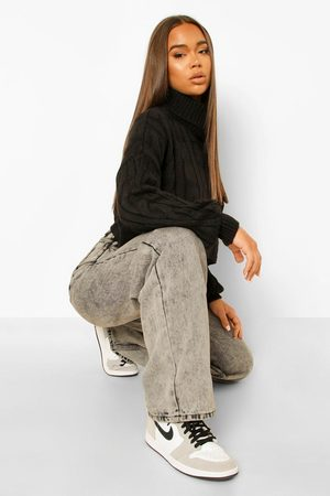 Boohoo Slouchy Cable Knit Cropped Jumper