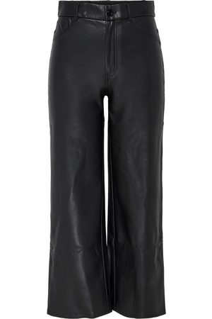 Only Onlmadison Wide Crop Faux Leather Pants