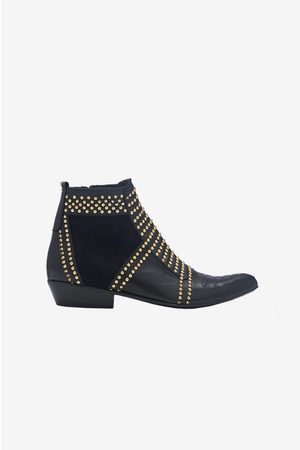 ANINE BING Charlie Boots In Gold Studs