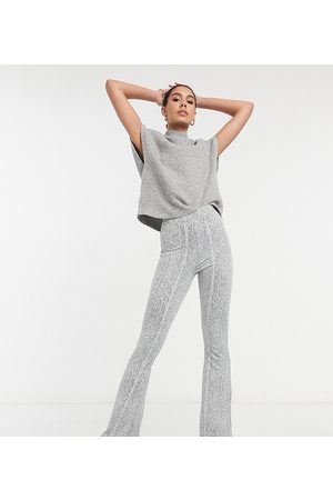 ASOS ASOS DESIGN Tall textured flare in snake print-Grey