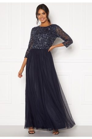 Angeleye Dame Maxikjoler - Sequin Bodice Maxi Dress Navy S (UK10)