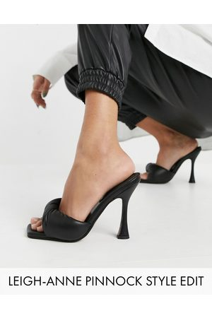 ASOS Niki padded twist high heeled mules in black