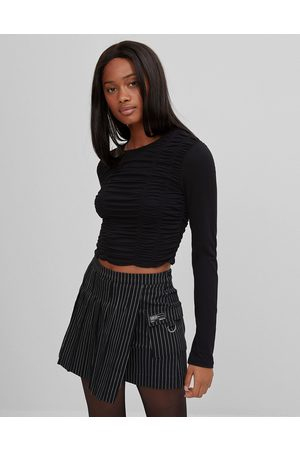 Bershka Long sleeve top with ruched front in black
