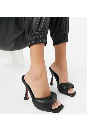 ASOS Wide Fit Niki padded twist high heeled mules in black
