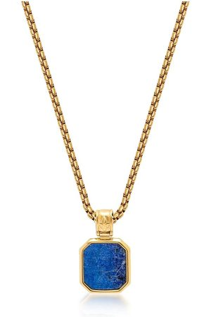 Nialaya Men's Gold Necklace with Square Blue Lapis Pendant