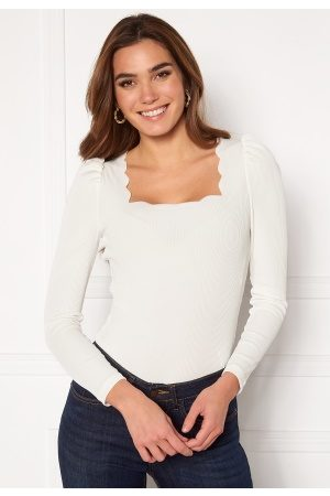 Vero Moda Dame Topper - Harriet L/S Rib Top Snow White S