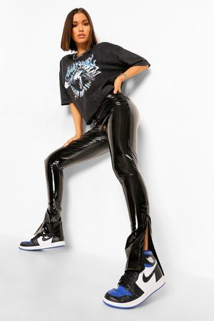 Boohoo High Waist Extra Long Vinyl Split Hem Trouser