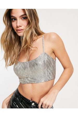ASOS Jersey sparkle bralet top co-ord in silver