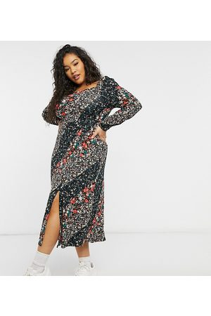 Simply Be Square neck jersey midi dress with front split-Multi