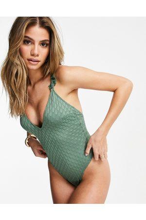 ASOS Textured frill cross back swimsuit in khaki-Green