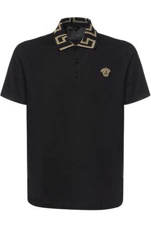VERSACE Herre Pique - Taylor Fit Cotton Polo W/greca Detail