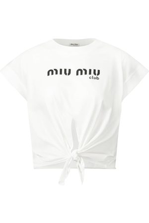 Miu Miu Logo cotton jersey crop top