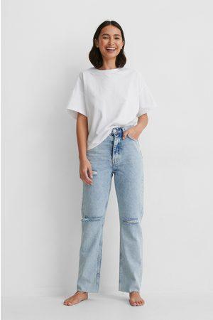 NA-KD Dame Jeans - Økologiske Jeans Med Høyt Liv Og Hullete Knær