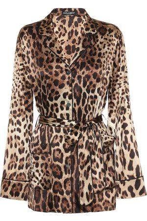 Dolce & Gabbana Leopard-print stretch-silk satin top