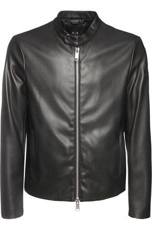 Armani Herre Skinnjakker - Faux Leather Biker Jacket