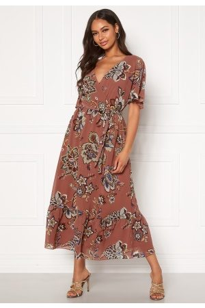 Happy Holly Linnea maxi dress Dark dusty pink / Patterned 36/38