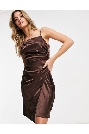 Jaded Rose Asymmetric satin wrap midaxi dress in chocolate brown