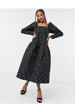 ASOS Tiered square neck baby doll midi dress in quilted floral-Multi