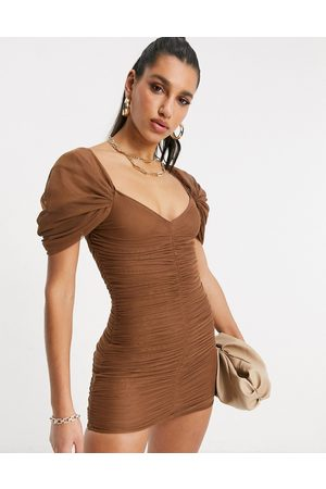 ASOS Sweetheart neck line mesh ruched mini dress in chocolate-Brown