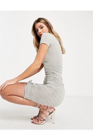 Sixth June Bodycon t-shirt dress with ruching-Grey