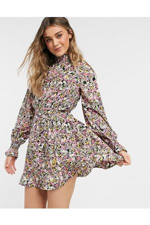 Influence High neck mini dress with tie waist in floral print-Multi