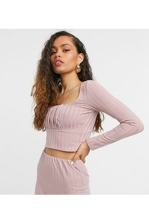 ASOS ASOS DESIGN Petite long sleeve thick rib top with ruched bust detail in blush co-ord-Pink
