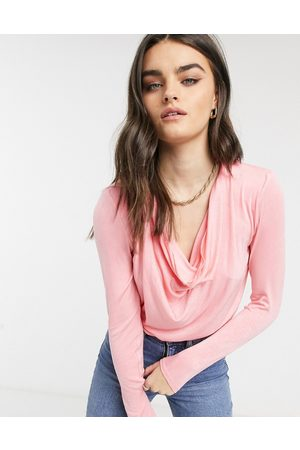 & OTHER STORIES Cowl neck bodysuit in pink