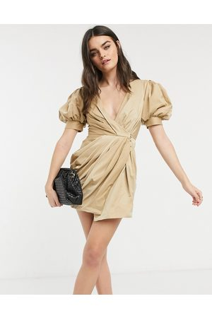 ASOS Structured drape wrap mini dress with puff sleeve detail-Neutral