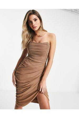 Rare Fashion London mesh drape wrap midi pencil dress in camel glitter-Neutral