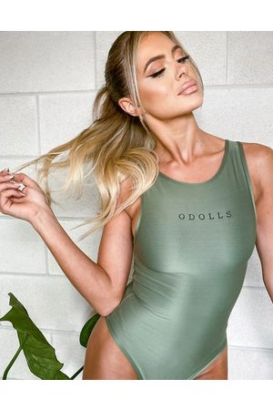 The O Dolls Collection ODolls Collection logo sleeveless body in khaki-Green