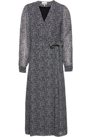 Ganni Dame Mønstrede kjoler - Printed Georgette Knelang Kjole Multi/mønstret
