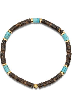 Nialaya Men's Wristband with Turquoise and Coconut Heishi Beads and Gold