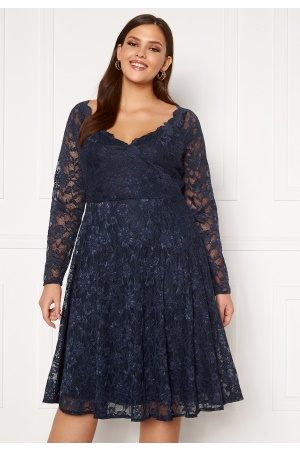 Goddiva Long Sleeve Lace Midi Curve Dress Navy 50 (UK22)