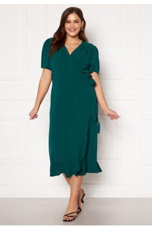 John Zack Dame Midikjoler - Short Sleeve Wrap Frill Curve Dress Green 48 (UK20)