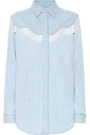 Ganni Fringed denim shirt