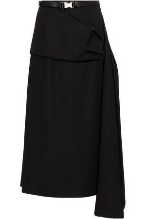 Prada Belted twill midi skirt