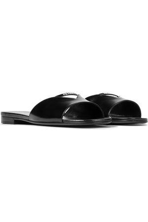 Prada Logo leather sandals