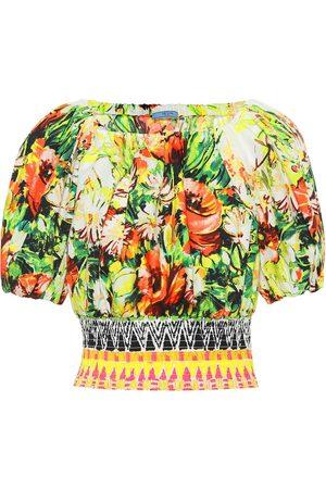 Prada Floral cotton poplin top