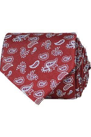 Amanda Christensen Paisley Woven Silk Tie 8 cm Wine Red