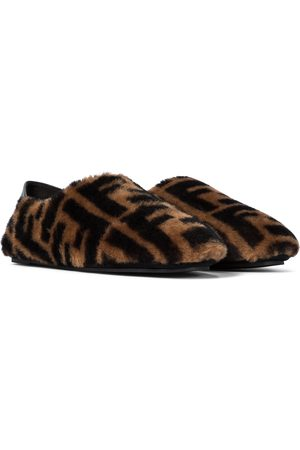 Fendi FF shearling slippers