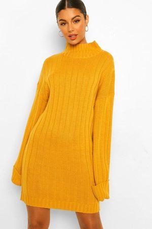 Boohoo Dame Strikkede kjoler - Maxi Wide Sleeve Wide Rib Jumper Dress