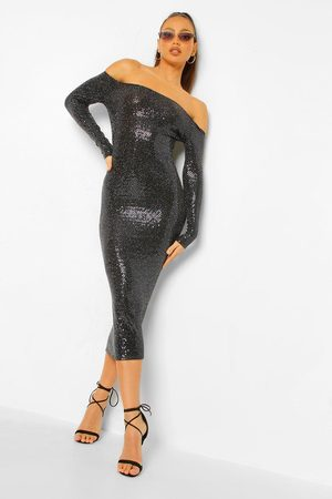 Boohoo Tall Sequin Square Neck Long Sleeve Bodycon Dress