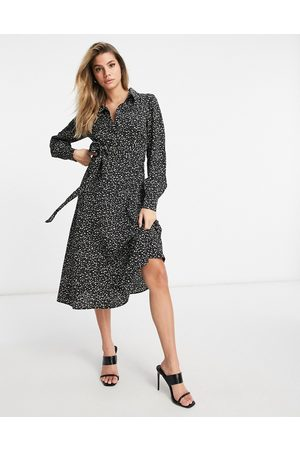 Pretty Lavish Printed shirt tie midi dress in black abstract spot-Multi