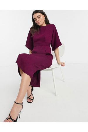 Closet Ribbed pencil dress in plum-Purple