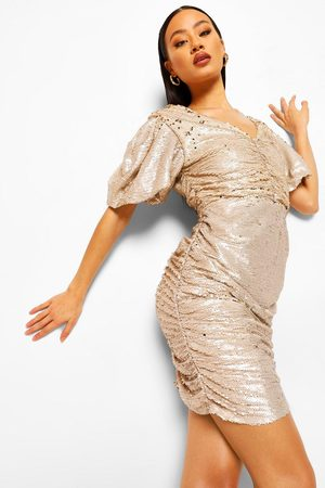 Boohoo Sequin Two Tone Puff Sleeve Mini Dress