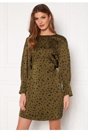 Vero Moda Dame Midikjoler - Calina L/S Shoirt Tie Dress Beech AOP Black Cali L